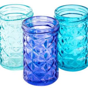 Porta-velas em vidro colorido