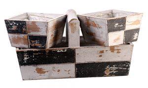 Kit caixotes com alça preto e branco – 3 peças