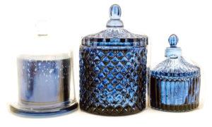 Vela em vidro metalizado bomboniere com tampa de vidro
