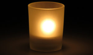 Copo vidro jateado com vela rechaud