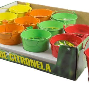 Vela Citronela em balde colorido