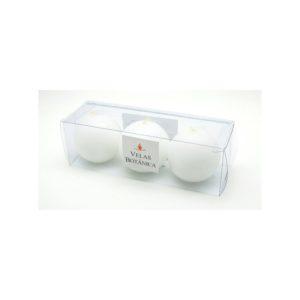 Conjunto com 3 velas brancas formato bola